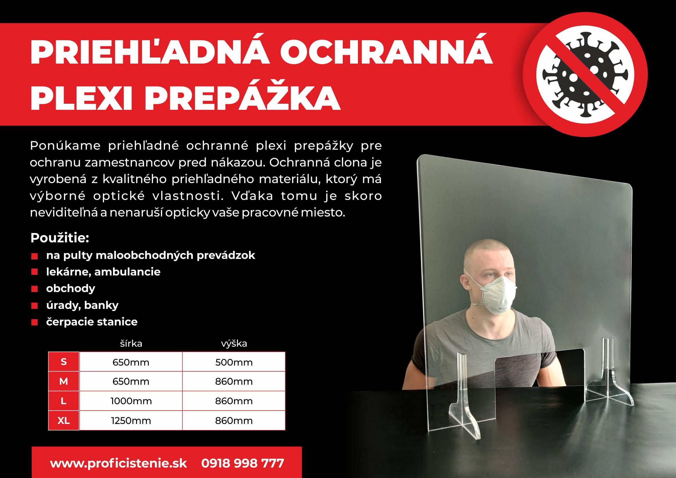 Priehľadná ochranná PLEXI prepážka 650x500 mm